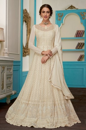 Embroidered Designer Off White Georgette Fabric Abaya Style Anarkali Suit With Nazmin Dupatta