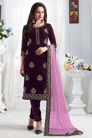 Pleasing Resham Embroidered Wine Velvet Fabric Salwar Suit With Net Dupatta