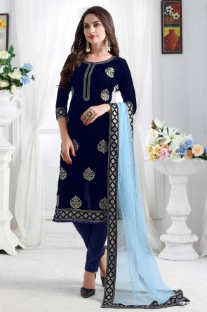 Lovely Velvet Fabric Blue Resham Embroidered Designer Solid Salwar Kameez With Net Dupatta