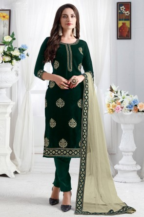Optimum Resham Embroidery Work Designer Green Velvet Salwar Kameez With Net Dupatta