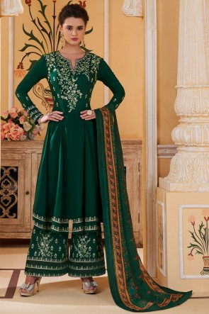 Maslin Fabric Green Embroidered Designer Plazzo Suit And Santoon Bottom