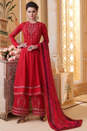 Party Wear Red Maslin Fabric Embroidery Work Solid Plazzo Suit And Dupatta