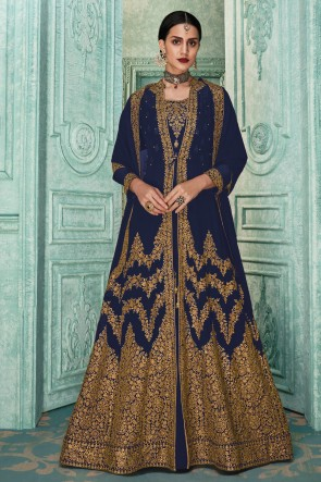 Charming Purple Embroidered Faux Georgette Anarkali Suit And Dupatta