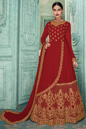 Embroidered Faux Georgette Red Anarkali Suit With Maslin And Dupatta