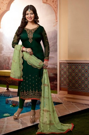 Gorgeous Ayesha Takia Georgette Satin Green Embroidered Salwar Suit With Georgette Dupatta