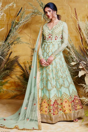 Beautiful Sky Blue Designer Net Embroidered Anarkali Suit And Dupatta