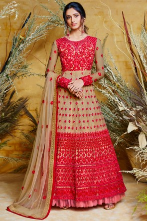 Beige Net Embroidered Anarkali Suit And Dupatta