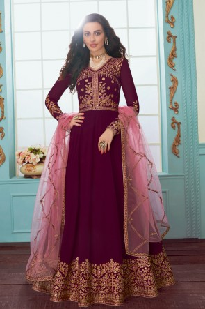 Heavy Designer Abaya Style Maroon Georgette Embroidered Anarkali Suit And Dupatta