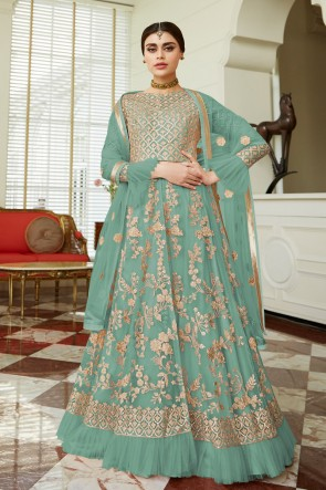 Charming Pista Embroidered Net Anarkali Suit And Dupatta