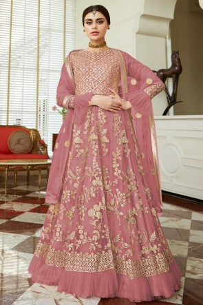 Beautiful Designer Wine Net Embroidered Anarkali Suit And Dupatta