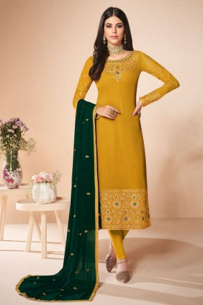 Mustard Embroidered Georgette Salwar Suit And Dupatta