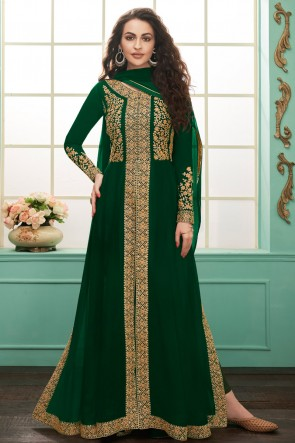 Charming Green Embroidered Georgette Anarkali Suit With Chinon Dupatta