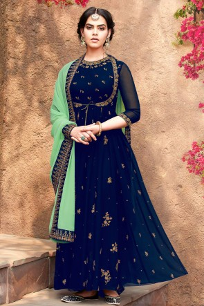 Designer Blue Embroidered Faux Georgette Anarkali Suit With Nazmin Dupatta