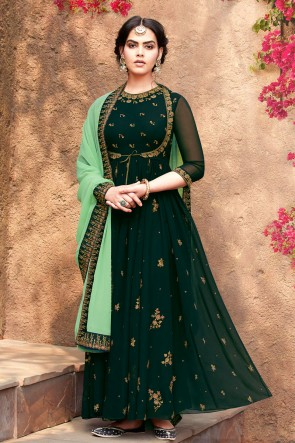 Beautiful Green Embroidered Designer Faux Georgette Anarkali Suit With Nazmin Dupatta