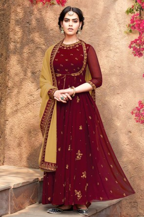 Charming Maroon Embroidered Faux Georgette Anarkali Suit With Nazmin Dupatta