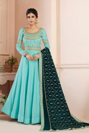 Beautiful Sky Blue Embroidered Designer Silk Anarkali Suit With Georgette Dupatta