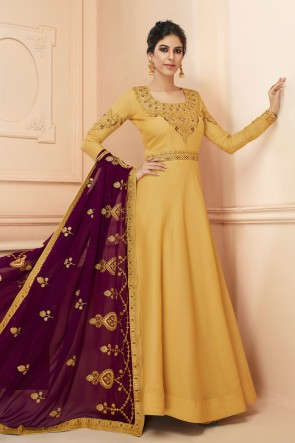 Embroidered Designer Mustard Silk Anarkali Suit With Georgette Dupatta