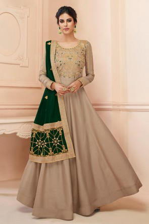 Embroidered Satin Grey Anarkali Suit With Georgette Dupatta