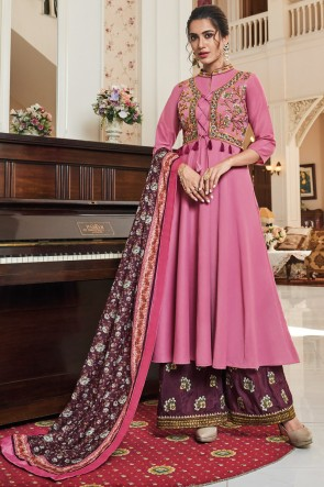 Party Wear Embroidery Work Pink Maslin Net Fabric Plazzo Suit And Dupatta