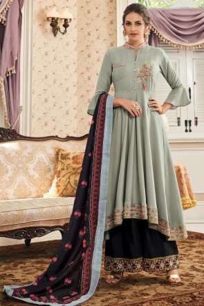 Desirable Embroidered Designer Pista Maslin Net Fabric Plazzo Suit And Dupatta