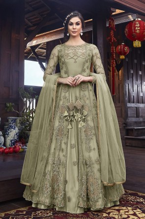 Embroidered Pista Net Fabric Anarkali Suit And Dupatta