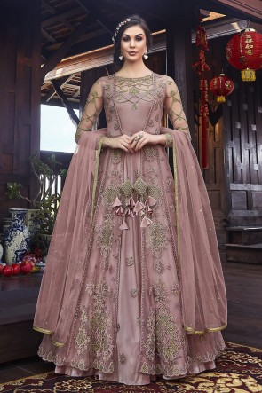Wine Net Embroidered Abaya Style Anarkali Suit And Dupatta