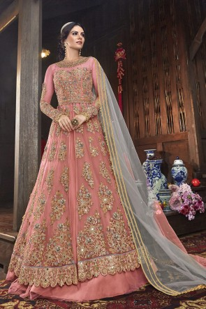 Peach Net Embroidered Abaya Style Anarkali Suit And Dupatta