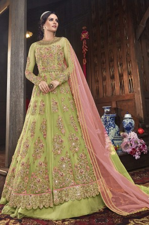 Net Designer Pista Embroidered Anarkali Suit And Dupatta
