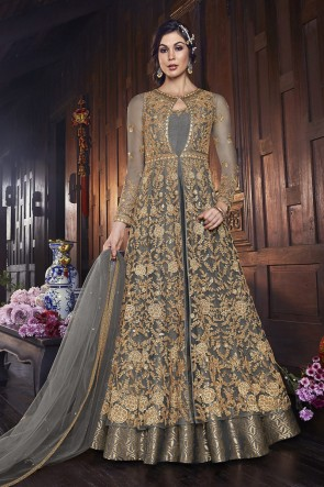 Grey Net Embroidered Abaya Style Anarkali Suit And Dupatta