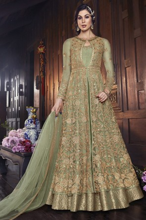 Embroidered Light Green Net Fabric Anarkali Suit And Dupatta