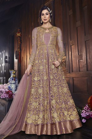 Net Designer Wine Embroidered Anarkali Suit And Dupatta