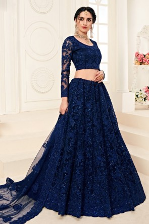 Net Fabric Embroidered And Zari Work Designer Navy Blue Lehenga Choli And Dupatta