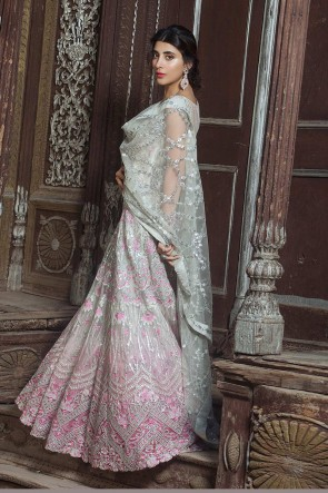 Multi Color Net Embroidered Anarkali Suit And Dupatta