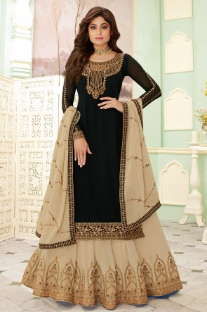 Shamita Shetty Georgette Black Embroidered Lehenga Suit And Dupatta