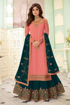 Shamita Shetty Embroidered Peach Georgette Fabric Lehenga Suit And Dupatta