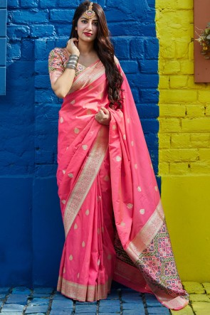 Silk Fabric Weaving With Jacquard Work Designer Pink Lovely Saree With Blouse