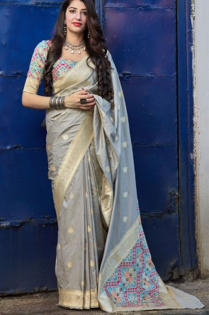 Stunning Grey Silk Fabric Weaving With Jacquard Work Saree With Blouse