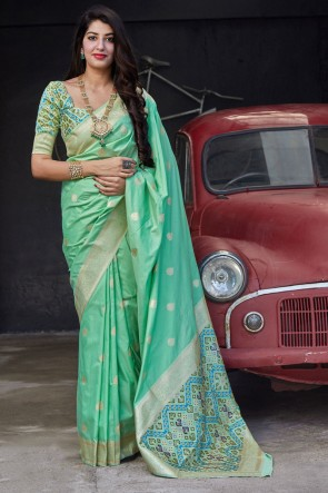 Green Silk Fabric Weaving With Jacquard Work Designer Saree With Blouse