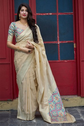 Weaving With Jacquard Work Beige Silk Fabric Saree With Blouse