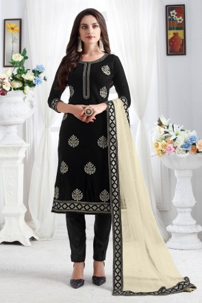 Heavy Designer Black Resham Embroidery Work Designer Velvet Fabric Salwar Kameez With Net Dupatta